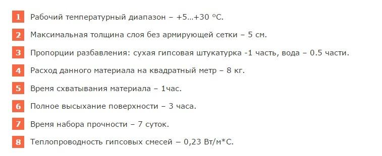 характеристики гипсовой штукатурки